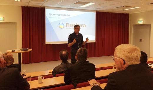 Konsernsjef Arne Kristian Kolberg presenterte Norturas arbeid for å øke produktiviteten i konsernet de siste årene. Det er gjennomført store endringer i anleggstruktur og antall ansatte.