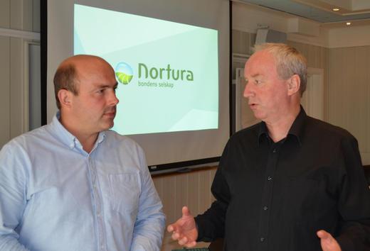 Styreleder i Nortura Sveinung Svebestad t.h. og leder i fagutvalg storfe i Nortura Jan Erik Fløtre.