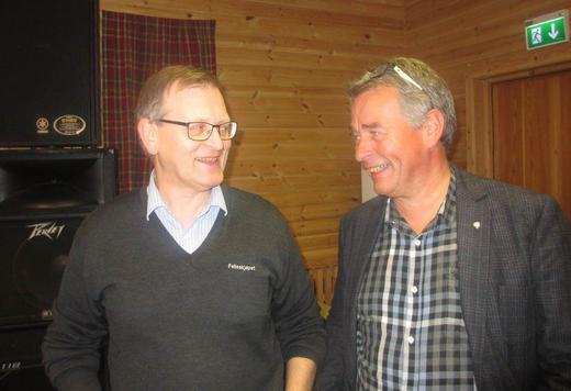 Felleskjøpets medlemssjef i Nord Johnny Stien (t.v.) og Regionsutvalgsleder i Nord Bernt Mikalsen var godt fornøyde med tilbakemeldingen på gjennomføring av felles medlemsmøter.