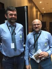 "Fagsjef småfe i Nortura, Finn Avdem t.h. er også ""generalen"" for lammekongressen. Her sammen med rådgiver og tilførselsansvarlig i region Midt, Bjørn Wæhre ønsker de deltakerne velkommen."