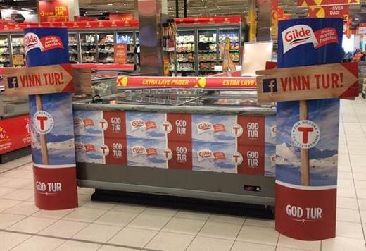 Butikkene har tatt godt imot kampanjen og satt av ekstra plass til turmaten fra Gilde. Her fra Coop Extra Kallerud i Hunndalen. Foto Nortura