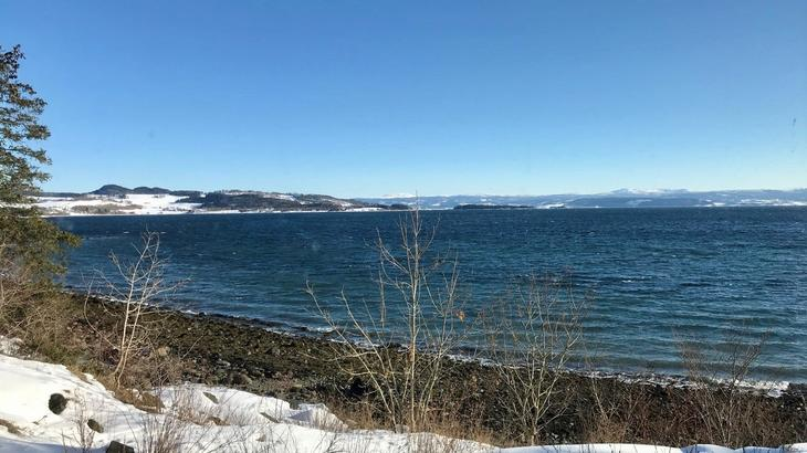 Utsikt fra vakre Jægtvolden Fjordhotell, Inderøy