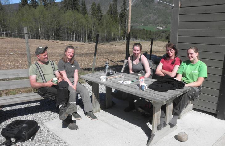 Familien Lilleslett/Tveide i solkroken, frå høgre Liv, Torunn, Johanne, Eirin og Jon