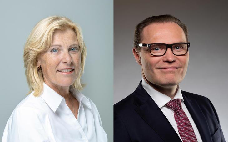 Bilde av konsernsjef Anne Marit Panengstuen og  Jens Middborg, administrerende direktør i Capgemini Norge.