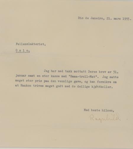 Prinsesse Ragnhild takker for hermetikk levert av Fellesslakteriet. Brevet er datert i Rio 21. mars 1955